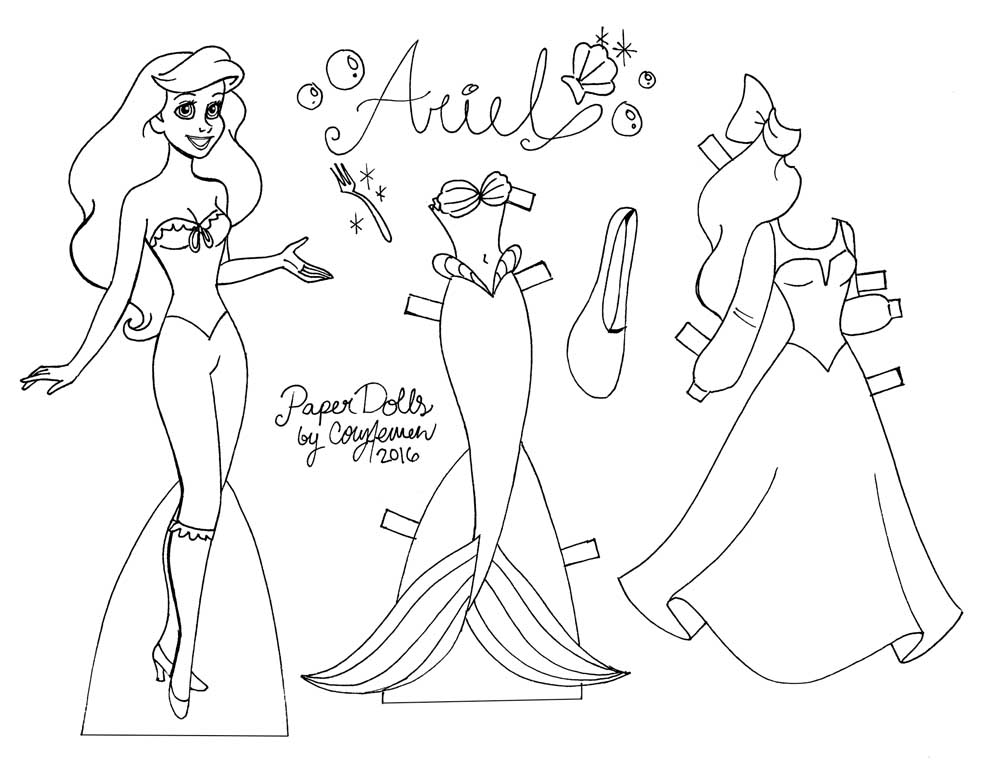 3 disney princess paper dolls you can color yourself