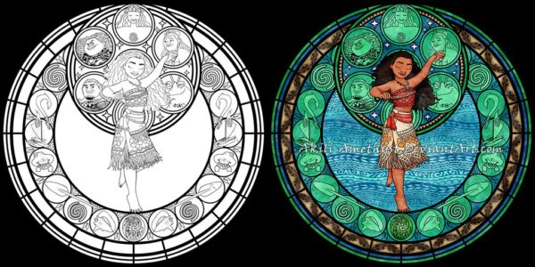 Stained Glass Disney Coloring Pages